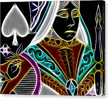 Queen Of Spades - V4 Canvas Print by Wingsdomain Art and Photography