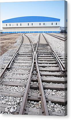 Railway Shed And Sidings. Bright Blue Canvas Print by Guang Ho Zhu