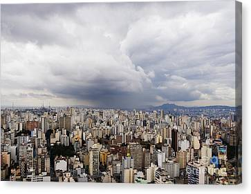 Rain Shower Approaching Downtown Sao Paulo Canvas Print by Jeremy Woodhouse