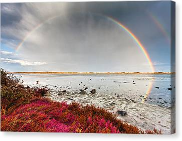 Rainbow By The Lake Canvas Print by Evgeni Dinev