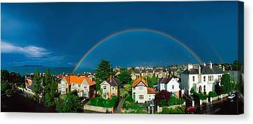 Rainbow Over Housing, Monkstown, Co Canvas Print by The Irish Image Collection