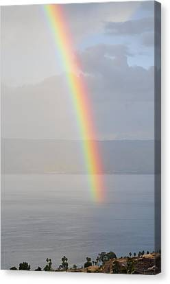 Rainbow Over Sea Of Galilee Canvas Print by Photostock-israel