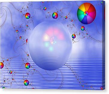 Rainbow Sphere On Blue Lake Canvas Print by Pam Blackstone