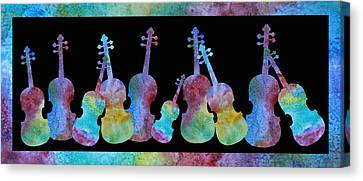 Rainbow Washed Violins Canvas Print by Jenny Armitage