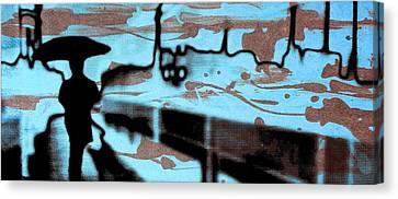 Rainy Day - Serigraphic Art Silhouette Canvas Print by Arte Venezia