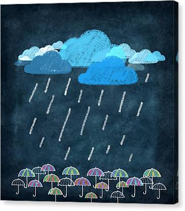 Rainy Day With Umbrella Canvas Print by Setsiri Silapasuwanchai