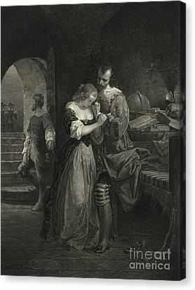 Raleigh Parting With Wife, 16th Century Canvas Print by Photo Researchers