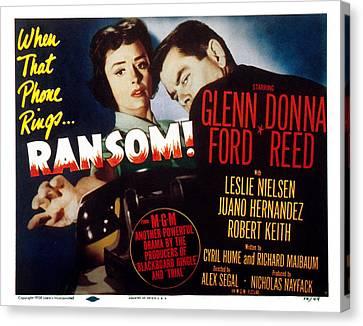 Ransom, Donna Reed, Glenn Ford, 1956 Canvas Print by Everett