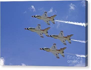 Rare Usaf Thunderbirds Diamond Pass Canvas Print by Tim Mulina