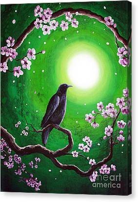 Raven On A Spring Night Canvas Print by Laura Iverson