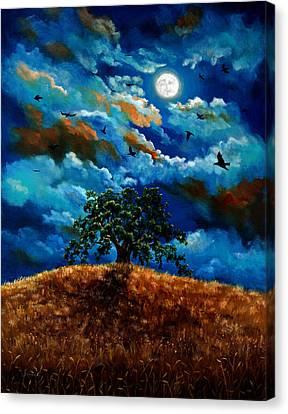 Ravens In A Moonlit Landscape Canvas Print by Laura Iverson