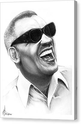 Ray Charles Canvas Print by Murphy Elliott