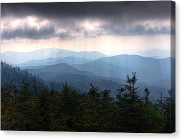 Rays Of Light Over The Great Smoky Mountains Canvas Print by Pixel Perfect by Michael Moore