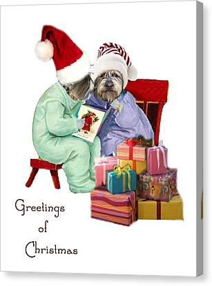 Reading A Christmas Story Canvas Print by Alexandra  Sanders