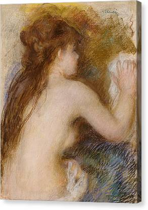 Rear View Of A Nude Woman Canvas Print by Pierre Auguste Renoir