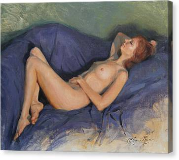 Reclining Nude On Blue Canvas Print by Anna Rose Bain