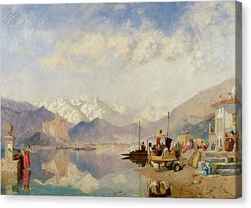 Recollections Of The Lago Maggiore Market Day At Pallanza Canvas Print by James Baker Pyne