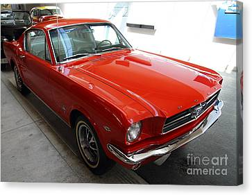 Red 1965 Ford Mustang Canvas Print by Wingsdomain Art and Photography