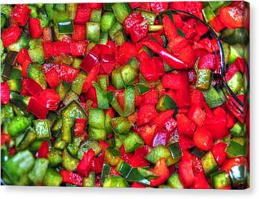 Red And Green Peppers Canvas Print by Paul Ward