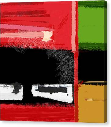 Red And Green Square Canvas Print by Naxart Studio