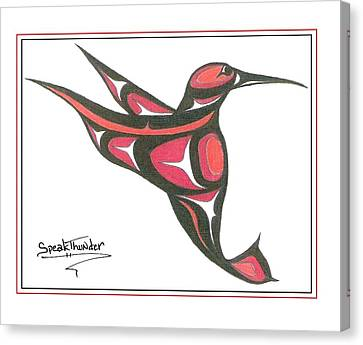 Red And Oj Humming Bird Canvas Print by Speakthunder Berry