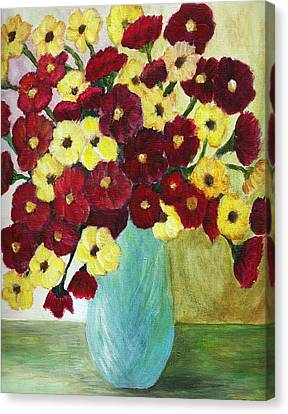 Red And Yellow Bouquet In Blue Canvas Print by Christy Saunders Church