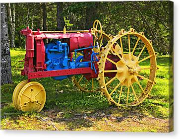 Red And Yellow Tractor Canvas Print by Garry Gay