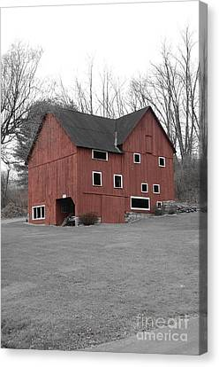 Red Barn In Black And White Canvas Print by Randy Edwards