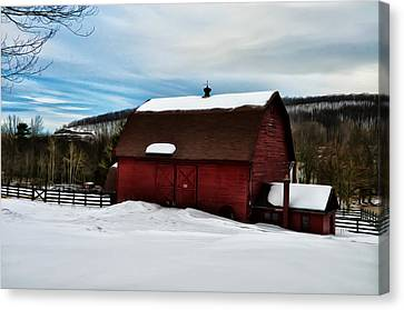 Red Barn In The Snow Canvas Print by Bill Cannon