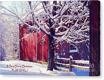 Red Barn In The Winter Connecticut Usa Canvas Print by Sabine Jacobs
