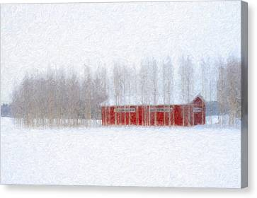 Red Barn In Winter Canvas Print by Ari Salmela
