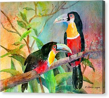 Red-breasted Toucans Canvas Print by Arline Wagner