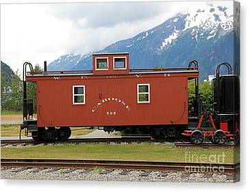 Red Caboose Canvas Print by Sophie Vigneault