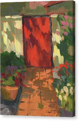 Red Door - Shadow And Light Canvas Print by Diane McClary