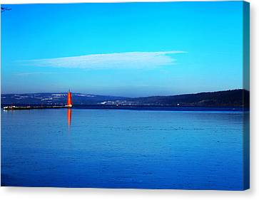 Red Lighthouse In Cayuga Lake New York Canvas Print by Paul Ge