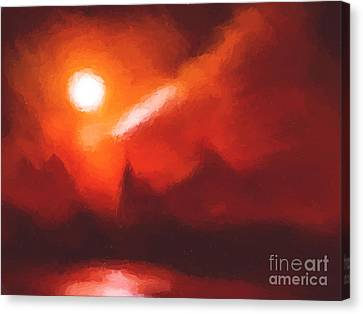 Red Mountains Canvas Print by Pixel Chimp
