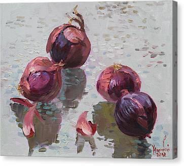 Red Onions Canvas Print by Ylli Haruni