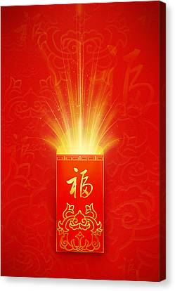 Red Pocket For Chinese New Year Canvas Print by BJI/Blue Jean Images
