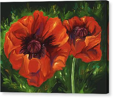 Red Poppies Canvas Print by Aaron Rutten