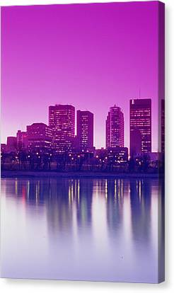 Red River And Downtown Winnipeg Canvas Print by Dave Reede