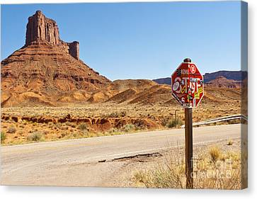 Red Rock Stop Canvas Print by Bob and Nancy Kendrick