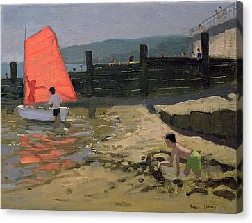 Red Sail Isle Of Wight Canvas Print by Andrew Macara