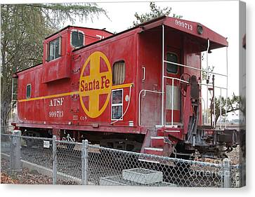 Red Sante Fe Caboose Train . 7d10325 Canvas Print by Wingsdomain Art and Photography