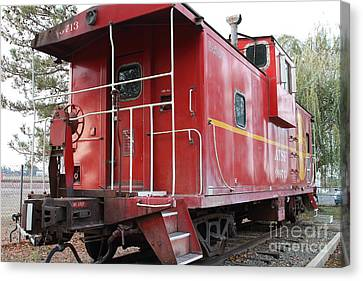 Red Sante Fe Caboose Train . 7d10330 Canvas Print by Wingsdomain Art and Photography