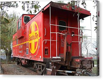 Red Sante Fe Caboose Train . 7d10332 Canvas Print by Wingsdomain Art and Photography