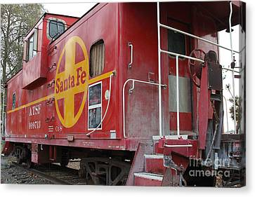 Red Sante Fe Caboose Train . 7d10334 Canvas Print by Wingsdomain Art and Photography