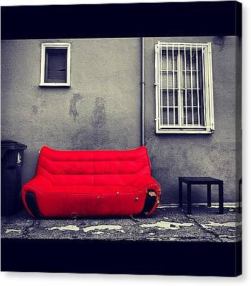 Sofa Canvas Print featuring the photograph #red #sofa #couch #furniture #junk by Daniel Corson