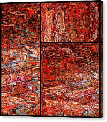 Red Splashes Swishes And Swirls - Abstract Art Canvas Print by Carol Groenen