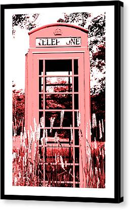 Red Telephone Booth In A Field In Maine Canvas Print by Kara Ray