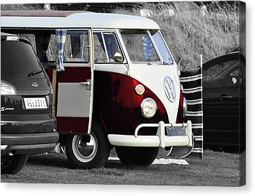 Red Vw Camper Canvas Print by Paul Howarth